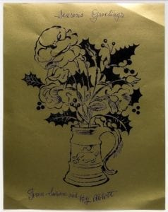 Flowers and Holly - Christmas Card, ca.1954
