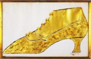 Andy Warhol, Large Gold Shoe, 1957,Ink, gold leaf, and gold collage on paper