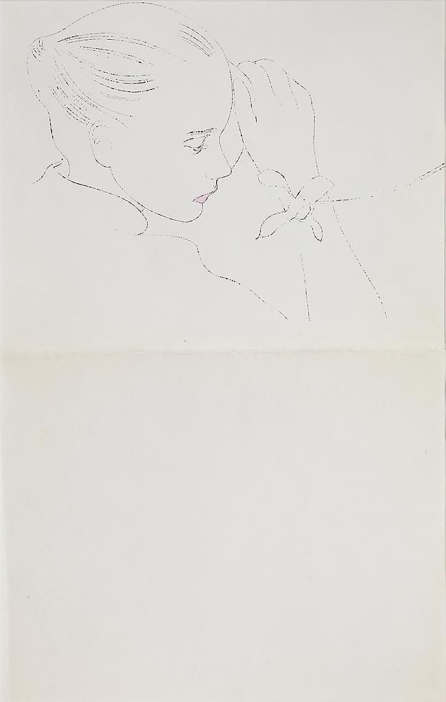 Young Girls Resting Head on Hand, Medium: Double sided offset lithograph