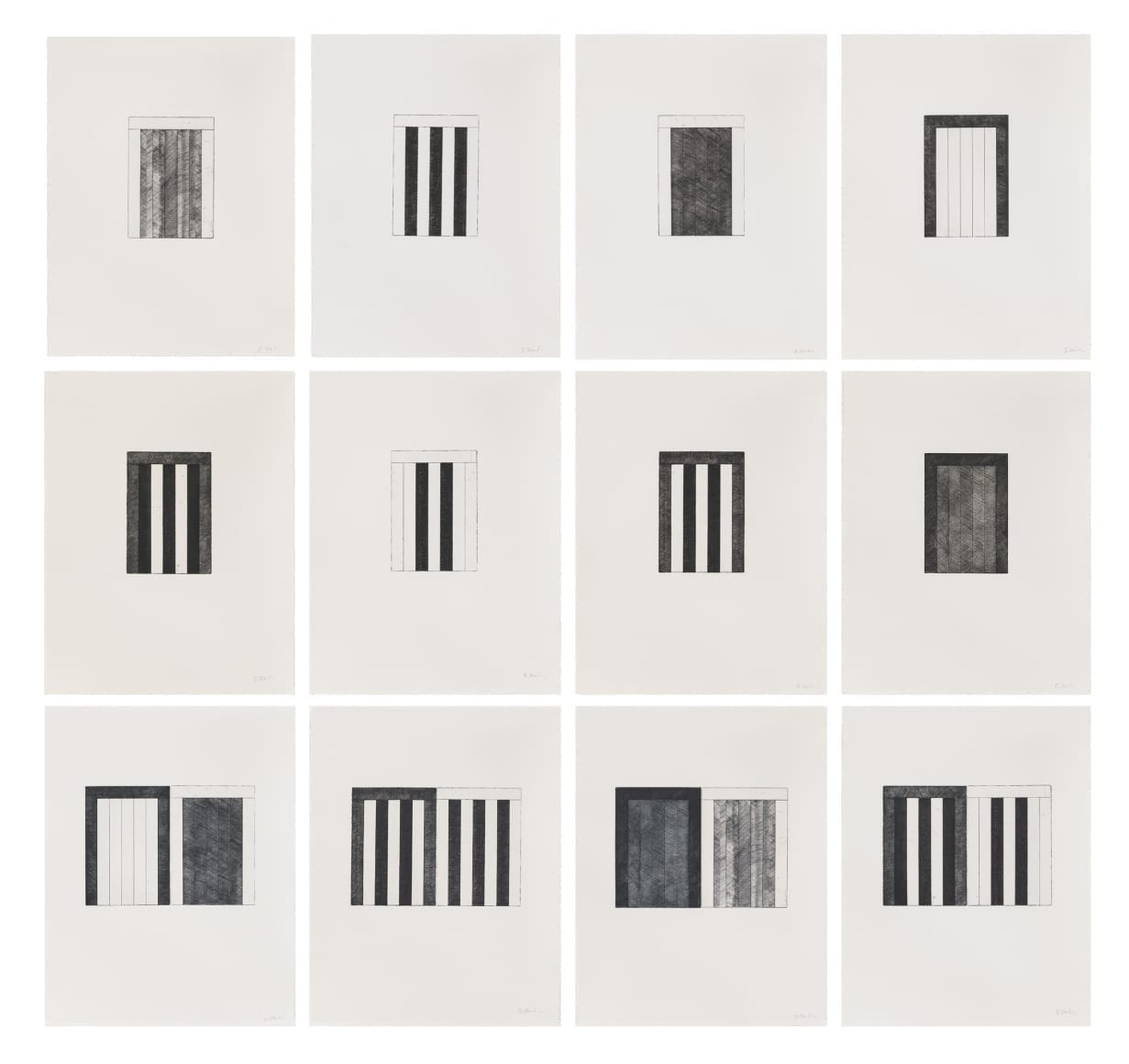 Brice Marden, 12 Views for Caroline Tatyana, 1977-79,Set of 12 etchings with aquatint