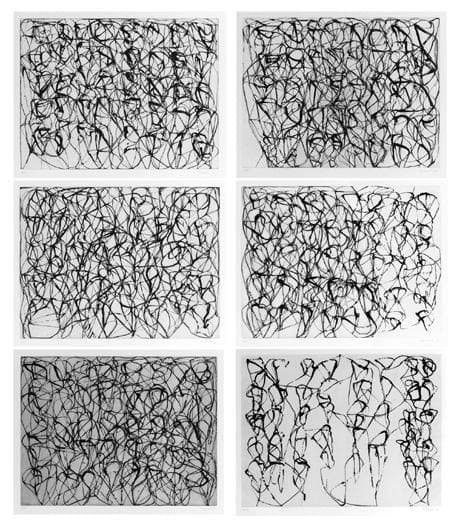 Brice Marden, Cold Mountain Series: Zen Studies 1-6, 1991, Set of 6 etchings with aquatint