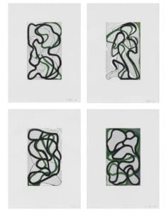 Brice Marden, Suzhou I-IV, 1998, The complete set of four etchings with aquatint, drypoint, and scraping in colors