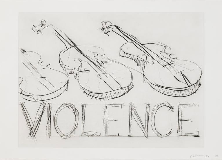 Bruce Nauman, Violins, Violence, 1985, drypoint