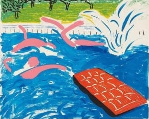 David Hockney, Afternoon Swimming, 1979, Lithograph in coloron Arches paper