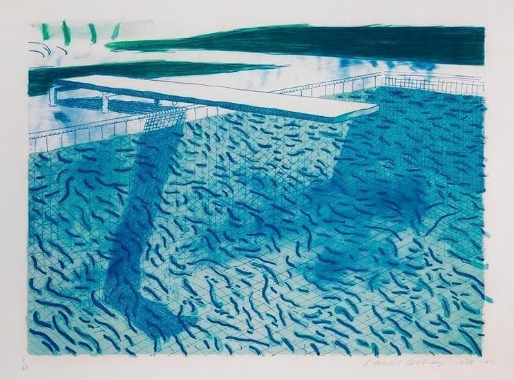 David Hockney, Lithograph of water made of thick and thin lines and two light blue washes, 1978-80, Lithograph