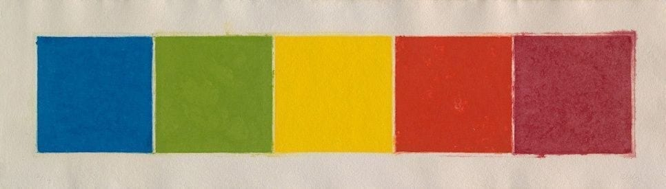 Ellsworth Kelly, Blue/Green/Yellow/Orange/Red (Colored Paper Image XXII), 1976-77, Colored and pressed paper pulp