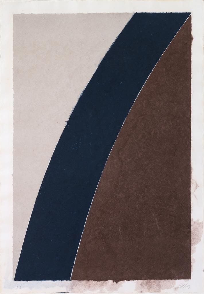 Colored Paper Image XII (Blue Curve with Brown and Gray), 1976