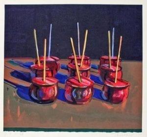 Wayne Thiebaud, Candy Apples, 1987, Woodcut